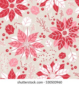 Vector seamless floral Christmas pattern, red poinsettia flower