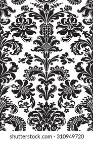 Vector seamless floral damask pattern, vintage abstract background, foliage tile oriental floral background, black and white flowers old vector, glamour luxury floral decor vector, oriental floral
