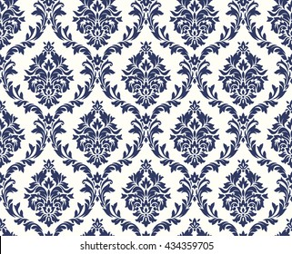 Vector seamless floral damask pattern. Rich ornament, old Damascus style. Royal victorian seamless pattern for wallpapers, textile, wrapping, wedding invitation. Damask woman pattern. Damask pattern