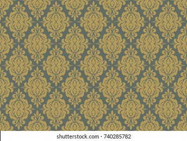 Vector seamless floral damask pattern. Design for wallpaper, textile, fabric, background, wedding invitation or vintage. Abstract background blue and gold