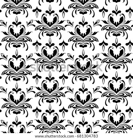 Vector Seamless Floral Damask Pattern Design Stock Vector Royalty