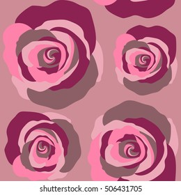 Vector seamless floral pattern with abstract roses on a pink background.
