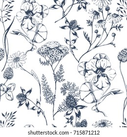Vector seamless floral pattern with aroma and medical  herbs on white. Ink drawn botanical illustration for fabric, wrapping, prints and other design. Background with wild meadow herbs.