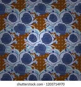 Vector seamless floral pattern with blue, brown and gray roses, watercolor effect.