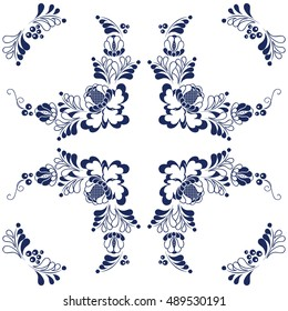 Vector seamless floral pattern. Blue on white. Porcelain, tiles, ceramic, page fill etc.