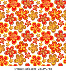 Vector seamless floral pattern in bright multiple colors. Colorful background with flowers and dots in style of child drawing or hippie. Positive spring summer texture.