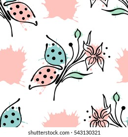 Vector seamless floral pattern with butterfly flowers, leaves, decorative elements, splash, blots, drop. Hand drawn contour lines and strokes. Doodle sketch style, graphic vector drawing illustration.