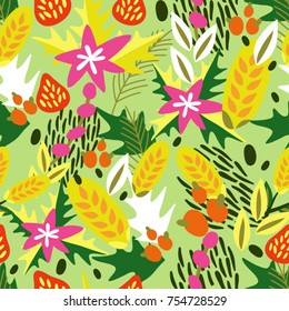 Vector seamless floral pattern of Christmas symbols.