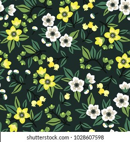 Vector seamless floral pattern. Cute pattern in small flower. Yellow and white flowers. Dark green background. Ditsy floral background. The elegant the template for fashion prints.
