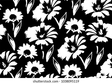 vector seamless floral pattern with  daisy flowers. floral background
