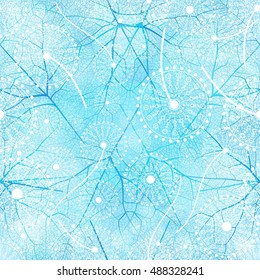 Vector seamless floral pattern with dandelion flowers. Blue and white background.