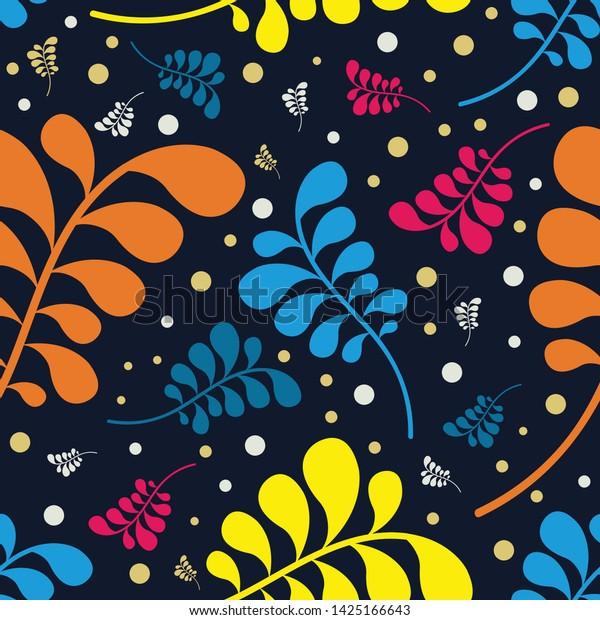 Vector Seamless Floral Pattern Dark Blue Stock Vector