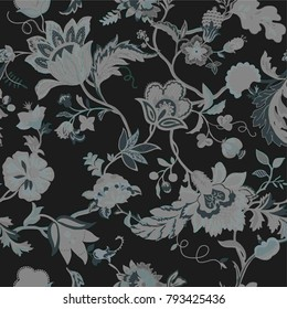 vector seamless Floral pattern, excellent chrysanthemum, drawn by hand in the traditional Oriental style, free brush, ink and watercolor. Modern retro daisy flower , grunge check graphic pattern