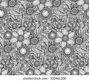 Vector seamless floral pattern with fancy flowers. Monochrome endless background.