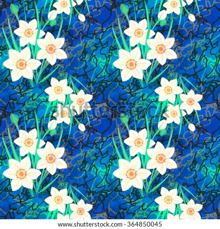 Vector Seamless Floral Pattern Fantasy Daffodils Stock