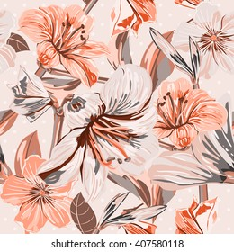 Vector Seamless Floral Pattern. Flower pattern with of soft color pink flowers on the background with dots. Background for your design wedding invitations, save the date cards, scrapbook and etc