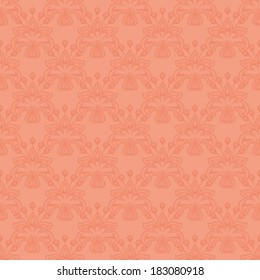 Vector seamless  floral pattern. Flowers on a peach background.