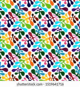 Vector Seamless Floral Pattern. Hand drawn Mexican otomi style embroidery pattern