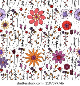 Vector seamless floral pattern with hand-drawn colorful original flowers and branches. Endless texture in warm bright colors. Pink, red, orange, violet stylized flowers