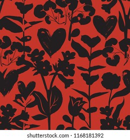 Vector seamless floral pattern with hearts and shapes of plants. Black silhouettes on red background. Luxury valentines day background with hearts, love symbols, flowers. Floral silhouette texture