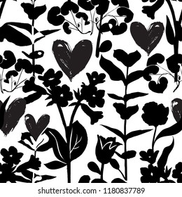 Vector seamless floral pattern with hearts and shapes of plants. Black silhouettes on white background. Luxury valentines day background with hearts, love symbols, flowers. Floral silhouette texture