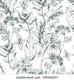 Vector seamless floral pattern with herbs and spices on white. Hand drawn illustration for fabric, wrapping, prints and other herbal design in vintage style.