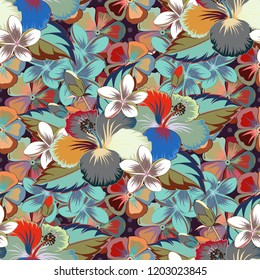 Vector seamless floral pattern with hibiscus flowers and leaves in brown, gray and blue colors.