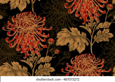 Vector seamless floral pattern. Japanese national flower chrysanthemum. Illustration luxury design, textiles, paper, wallpaper, curtains, blinds. Golden leaves, red flowers on black background.