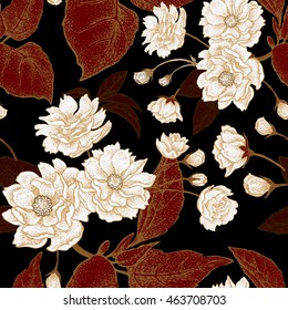 Vector seamless floral pattern with leaves, flowers and branches of the tree Chinese plum. Design paper, wallpaper and fabrics. Black, red, white, gold.