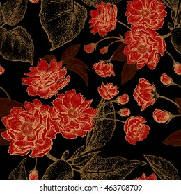 Vector seamless floral pattern with leaves, flowers and branches of the tree Chinese plum. Design paper, wallpaper and fabrics. Black, red, gold.