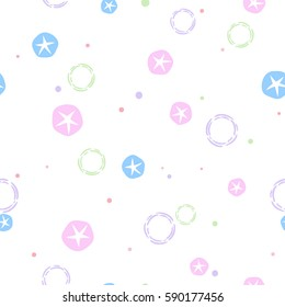Vector seamless floral pattern. Multi-colored Morning glory flowers with hand drawn dots on white background.