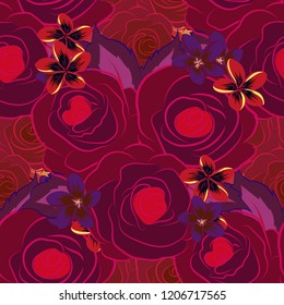 Vector seamless floral pattern with rose flowers and green leaves in purple, magenta and red colors.