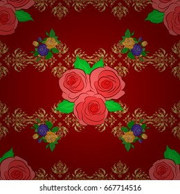 Vector seamless floral pattern with rose flowers and green leaves on a red background.