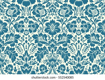 Vector seamless floral pattern in the style of damask