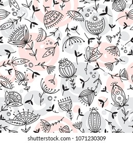 Vector seamless floral pattern in tribal boho ornament style. Can be printed and used as wrapping paper, wallpaper, textile, fabric, etc.