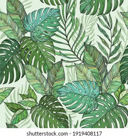 Vector Seamless floral pattern, Tropical palm leaves, jungle leaves