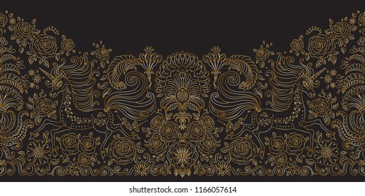 Vector seamless floral pattern with Unicorn. Metallic gold hand drawn rose flowers, fantasy leaves, fairy tale animal, ornate cute horse print on black background. Wallpaper fringe, textile border