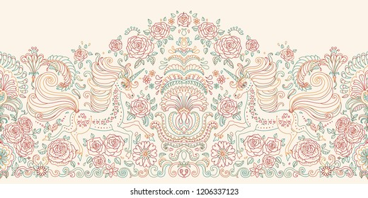 Vector seamless floral pattern with Unicorn. Colorful hand drawn rose flowers, fantasy leaves and fairy tale animal, ornate cute horse print on a beige background. Wallpaper fringe, textile border