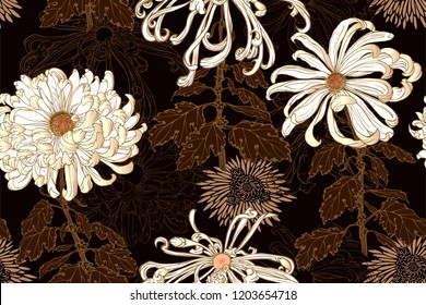 Vector seamless floral pattern of white chrysanthemums with dark golden leaves, stems, golden minimal chrysanthemums and line flowers on black background in Japanese graphic style.