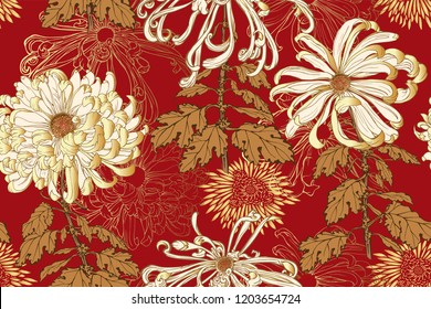 Vector seamless floral pattern of white chrysanthemums with golden leaves, stems, golden minimal chrysanthemums and line flowers on red background in Japanese graphic style.