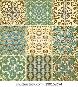Vector seamless floral  patterns, fully editable eps10 file, seamless patterns in swatch menu,