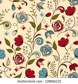 Vector seamless floral  spring pattern,  fully editable eps 8 file with clipping mask and seamless pattern in swatch menu