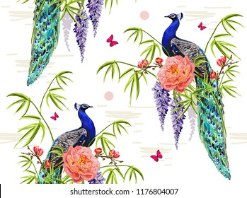 Vector seamless  floral summer Illustration background with tropical japanese sakura flowers, wisteria, rose, bamboo, peacock, butterflies.Perfect for wallpapers, web page backgrounds, surface texture