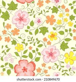 Vector seamless flower pattern