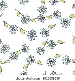 Vector seamless flower pattern background. Summer floral vector illustration.