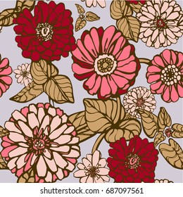 Vector seamless flower pattern. Grafic floral pattern for fabric, textile or wallpaper.