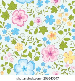 Vector seamless flower pattern on blue background
