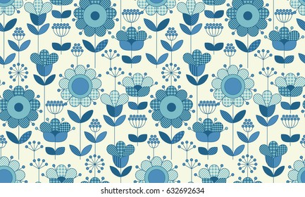 Vector seamless flower pattern for surface design in traditional folk style. Geometry 60s inspired floral  illustration in blue pottery color for wrapping paper, fabric, cloth.