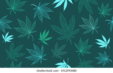 Vector Seamless Fluorescent Marihuana Pattern. A Medical Cannabis Neon Hand Drawn Countours on a Dark Background. Weed Background for Packaging, Wallpaper, Wrapping paper, Posters, Surface Design.