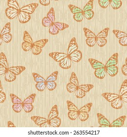 Vector Seamless Flying Butterfly Background Pattern